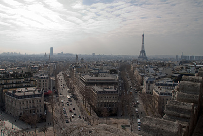 View of the Eiffel Tower as seen from the top of the Arc de Triomphe.